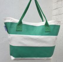 Green & White Stripe - Beach Tote - by Beach Bunnies Beach Bunny, Green Stripes, Bunnies, Stylish, Cotton, Bags, Handbags, Rabbits, Taschen
