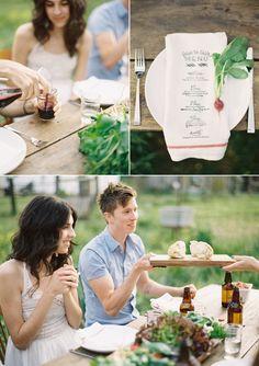 printed tea towel menu card / napkin... genius. #camillestyles