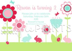 Garden Flower Bunny Invite Birthday Invitation by by Dimpleprints, $10.00