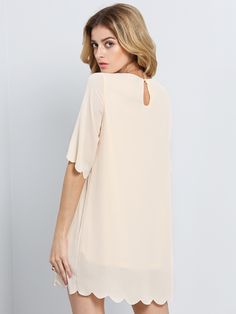 Apricot Half Sleeve Shift Chiffon Dress