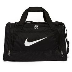 Nike Brasilia Small Duffle Bag ($30) ❤ liked on Polyvore featuring bags, black, strap bag, black zipper bag, black duffel bag, black duffle bag and zip bags
