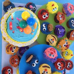 Sesame Street cupcakes made by my Mom for my nieces