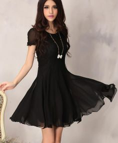 Women's Lace Chiffon Pleated Mini Dress