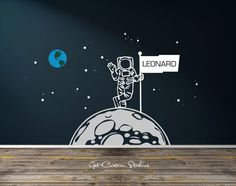 Details about  /Wall Decal Space Astronaut Kids Room Whale Fish Fantasy Vinyl Sticker ed1114