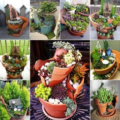 39 Ideas to Make Mini Gardens from Broken Flower Pots - http://www.amazinginteriordesign.com/39-ideas-make-mini-gardens-broken-flower-pots/