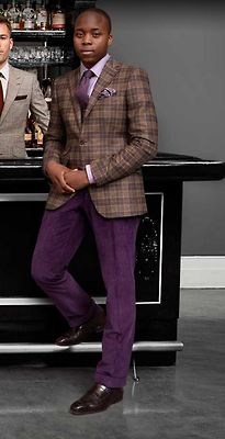 Smart office. Grey/White/Purple. Check/Solid/Dot. Purple highlights. Pants need be darker.
