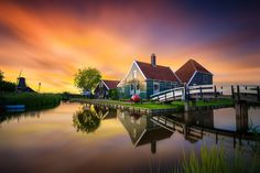 Typical Dutch! | Zaanse Schans, The Netherlands. This was taken last week right after sunset. Zaanse Schans is a famous windmill village in the Netherlands that attracts many tourists. This spot has been photographed countless times, but this was my first time at this particular spot! Shot with Sony A7II, Zeiss 16-35 FA, F5, ISO 320, 13 seconds. facebook: Albert Dros Photography Please do not use my images anywhere without my permission!