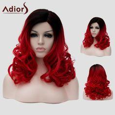 Llévalo por solo $56,500.Atractivo Negro degradado rojo sin tapa larga peluca mullida sintéticas onduladas universal para las mujeres.