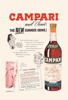 VINTAGE CAMPARI AD - Retro Barware Wall Art - Bar Poster, Kitsch Poster, Kitsch