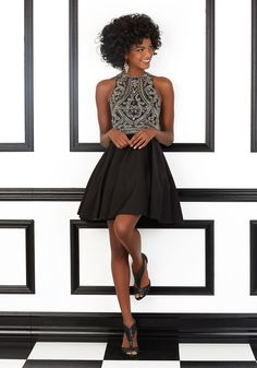 Beaded Stretch Satin Prom Dress Designed by Madeline Gardner. Zipper Back. Colors Available: Black, Champagne