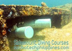 Sidemount student, having some fun with obstacles.