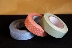 Pastel+Polka+Dots+Green+Peach+Blue+15mm+(C) $3.50