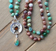 Ground Jewelry Knots, Knot Necklace, Beaded Necklaces, Natural Crystals, Jewellery Storage, Crystals And Gemstones, Gifts For Her, Just For You, Turquoise