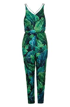 Palm Print Strappy Jumpsuit (Regular & Petite)