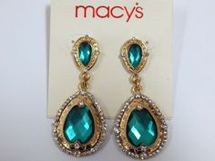MACYs Gold Tone and Green Crystal Dangle Drop Earrings NEW #Macys #DropDangle