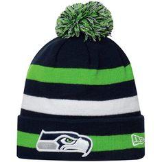 b26d38fd4 New Era Seattle Seahawks Sport Cuffed Knit Hat - College Navy Neon  Green White