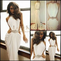 Real Made Sexy Vestidos De Fiesta Crystal Beaded High Neck White Mermaid Long Prom Dress 2014 DYQ912 $156.25