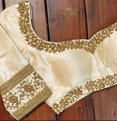 Custom fit pure raw silk blouse with zardosi embroidery etsy. Wedding Saree Blouse Designs, Saree Blouse Neck Designs, Stylish Blouse Design, Fancy Blouse Designs, Wedding Blouses, Hand Work Blouse Design, Designer Blouse Patterns, Zardosi Embroidery, Embroidery Blouses