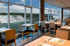 View from Windows by Jamie Kennedy in The Sheraton on the Falls on the Fallsview Dining Level Niagara Falls, Ontario, Places To Go, Indoor, Dining, Restaurant Interiors, Table, Furniture, Buffet