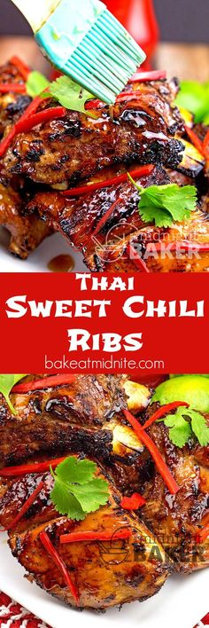 Yummy pork baby back ribs with a sweet and tangy Thai chili sauce glaze | The Midnight Baker