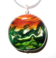 Autumn Landscape Lampworked Pendant by jessieglass on Etsy, $48.00