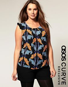 Enlarge ASOS Curve Exclusive Frill Sleeve Top In Tulip Print