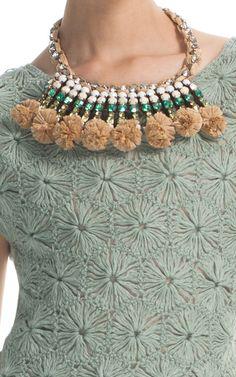 Tory Burch Pom-Pom Raffia Crystal Woven Necklace