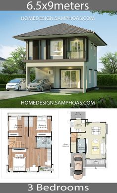 Home design plans with 3 bedrooms – Home Ideas – Maison design - Grundrisse House Layout Plans, Duplex House Plans, 3d House Plans, Family House Plans, Small House Plans, House Layouts, 5 Bedroom House Plans, 2 Storey House Design, Duplex House Design