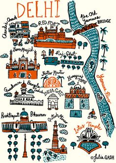 Delhi Cityscape by Julia Gash Travel Maps, India Travel, Travel Posters, India Trip, Travel Luggage, Delhi Map, Delhi India, Delhi City, Jaipur India
