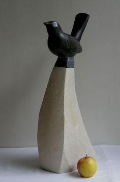 Black weardale limestone Birds Sculptures or statue by artist Peter Graham titled: 'Blackbird (Carved garden Song Bird sculpture statue carving statuette)'