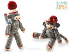 Classic Twist Sock Monkey Doll 14 inch tall PDF Crochet Pattern