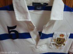 RALPH LAUREN POLO Mens Golf shirt LARGE L Rugby Gold Crest Crown S/S Striped #ralphlauren #polo #ebay