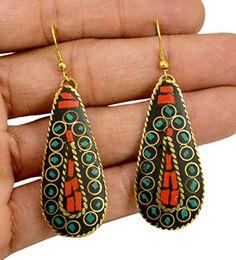 A Pair of Indian Brass Metal Tibetan Design Boho Hippie Fashion Earrings Krishna Mart India http://www.amazon.com/dp/B00UNEMR22/ref=cm_sw_r_pi_dp_sW.xwb0CPWW26