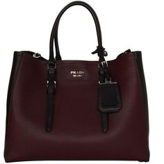 Preowned Prada '15 Black & Burgundy Calfskin City Double Tote Shw (38,745 MXN) ❤ liked on Polyvore featuring bags, handbags, tote bags, red, red tote bag, tote handbags, burgundy tote, red purse and black purse