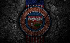 Download wallpapers Arizona State coat of arms, grunge, Arizona symbolism, Coat of arms of Arizona, American flag, Arizona coat of arms, USA