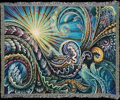 Visionary Art by Randal Roberts & Morgan Mandala woven into beautifully detailed Art Blankets. Soft, cozy and conscious ~ 60% Recycled. Made in the USA! Perfect for yoga, meditation, festivals, Burning Man.