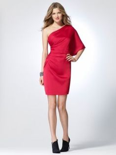 Red Charmeuse side gather dress with one shoulder cape style sleeve [#N5065C35550127] - $150.00 : Crazeparty.com, Dare to be Different!