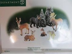 Department 56 Village Accessory Woodland Wildlife Animals Larg Mint in Box 52813 Department 56 Christmas Village, Dept 56 Snow Village, Christmas Villages, Christmas Ornaments, Polaroid, Mill Creek, Trains, Woodland, Polymer Clay