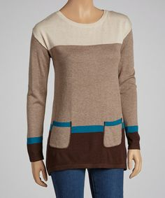 Mushroom & Blue Color Block Sweater by August Silk on #zulily!