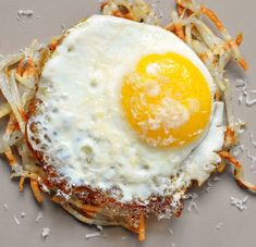 hashbrowns made in a waffle maker + a fried egg. dinner tonight!