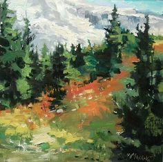 "Wildflower Hillside by Mary Maxam Oil ~ 8"" x 8"""