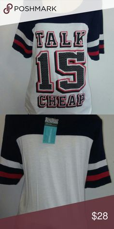Talk Is Cheap T Shirt White T Shirt with red & blue, the words Talk Is Cheap written across the front. Available in 1x & 2x Tops Tees - Short Sleeve