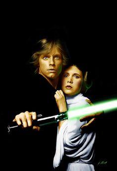 Luke and Leia painting