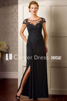 dc6fc5e24b4 Cap-Sleeved Long Mother Of The Bride Dress With Side Slit And Appliques -  UCenter