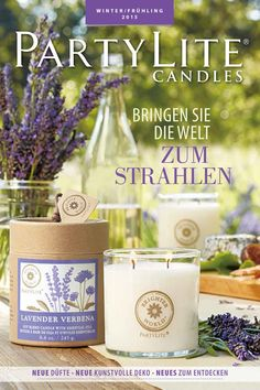 Winter/Frühling 2015 Partylite Catalogue, Candle Jars, Candles, Shops, New Catalogue, Verbena, Place Cards, Place Card Holders, Table Decorations