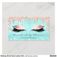 Makeup Artist Eyes Lashes Glitter Drips Rose Blue Business Card - Stand out from your competition. Makeup Business Cards, Business Cards Layout, Luxury Business Cards, Gold Business Card, Elegant Business Cards, Custom Business Cards, Business Card Design, Glitter Roses, Card Templates