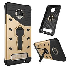 Moto Z Play Case, NOKEA Heavy [Heavy Duty] [Dual Layer] Combo Holster Cover Defender Full Body Protective Cover with 360 Degree Rotating Kickstand for Motorola Moto Z Play Droid (Yellow)