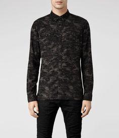 Allsaints Breslau Shirt in Gray for Men (Khaki)