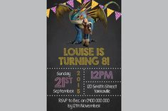 Personalized How to Train Your Dragon Astrid Stormfly Birthday Invitations Personalised Party Invites