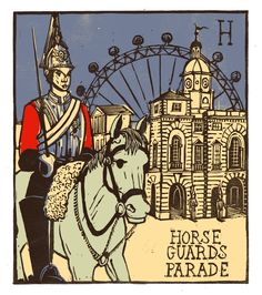 """Tobias Till ~ 'H"""" Horse Guard Parade from London A-Z Complete Boxed Set (2012) ~ Linocut, Somerset satin 250 gsm paper, 41.5 x 37.5 cm"""